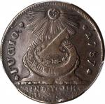 1787 Fugio Copper. Pointed Rays. Newman 10-T, W-6705. Rarity-5. STATES UNITED, 1/Horizontal 1. VF-35