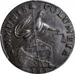 1787 Immunis Columbia Copper / Large Eagle Reverse. W-5680. Plain Edge. MS-64 BN (PCGS).