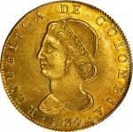 COLOMBIA. 1834-RS 8 Escudos. Bogotá mint. Restrepo M165.27. MS-62 (PCGS).