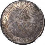GUATEMALA. 8 Reales, 1847/43-NG A. Nueva Guatemala Mint, Assayer