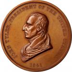 1841 John Tyler Indian Peace Medal. Large Size. Bronze. 76 mm. Julian IP-21. Second Reverse. Mint St