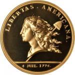 1781 (2000) Libertas Americana Medal. Paris Mint Restrike. Gold. 46.5 mm. Edge: Cornucopia, #373/500