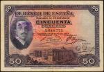 SPAIN. El Banco de Espana. 50 Pesetas, 1927. P-72b. Very Fine.