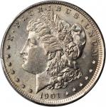 1901-S Morgan Silver Dollar--Broadstruck Out of Collar--AU-55 (PCGS). Gold Shield Holder.