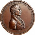 1817 James Monroe Indian Peace Medal. Bronze. Second Size. Second Reverse. Julian IP-9, Prucha-41. M