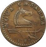1787 New Jersey copper. Maris 31-L. Rarity-3. Outlined Shield. AU-50 (PCGS).