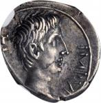 OCTAVIAN. AR Quinarius (1.67 gms), Uncertain mint in Italy, possibly Rome, 29-28 B.C. NGC Ch EF, Str