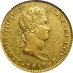 GUATEMALA. 8 Escudos, 1817-NG M. Nueva Guatemala Mint. Ferdinand VII. NGC AU-58.
