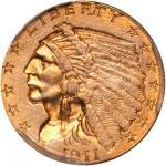 1911-D Indian Quarter Eagle. Strong D. AU Details--Rim Damage (PCGS).