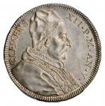 ITALY. Papal States. Testone, 1735 Year V. Clement XII. PCGS MS-62 Gold Shield.