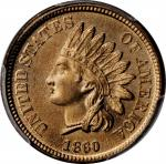 1860 Indian Cent. FS-401. Pointed Bust. MS-66 (PCGS). CAC.