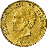 1860年柬埔寨后铸4法郎异质金币。诺罗敦一世。CAMBODIA. Gold 4 Francs Pattern, 1860. Norodom I. PCGS AU-58 Gold Shield.