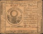 CC-10. Continental Currency. May 10, 1775. $30. Extremely Fine.