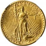 1908 Saint-Gaudens Double Eagle. No Motto. Unc Details--Reverse Scratched, Improperly Cleaned (NGC).