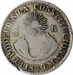 ECUADOR. 2 Reales, 1839-QUITO MV. Quito Mint. PCGS FINE-15 Gold Shield.