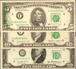 Lot of (3) Federal Reserve Error Notes. Very Fine & Extremely Fine.