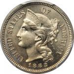 1883 Nickel Three-Cent Piece. MS-65 (PCGS).