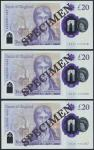 Bank of England, Sarah John, polymer £20, ND (20 February 2020), serial number AA01 000378/380/387,