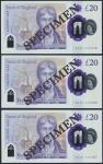 Bank of England, Sarah John, polymer £20, ND (20 February 2020), serial number AA01 000378/380/387,