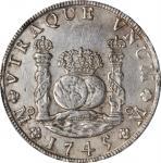 1745-Mo MF年一圆银币。墨西哥城造币厂,菲利普五世。MEXICO. 8 Reales, 1745-Mo MF. Mexico City Mint. Philip V. PCGS Genuine