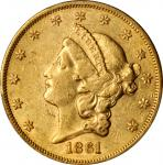 1861 Liberty Head Double Eagle. AU-50 (PCGS).
