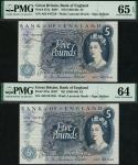 x Bank of England, J. Q. Hollom, consecutive pair of £5 (2), ND (1963), serial numbers A03 847558/59