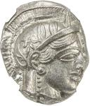 ATHENS 40ATTICA41: 440-404 BC, AR tetradrachm 4017。19g41, S-2526, helmeted bust of Athena right // o