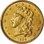 1834 Classic Head Half Eagle. McCloskey-2. Second Head, Small Plain 4. AU-53 (PCGS).