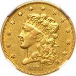 1834 $5 Classic Head. Plain 4. NGC AU53
