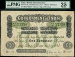 Lot193A,x Government of India, 100 rupees, Calcutta, 22 July 1925, serial number RE/65 52558, black