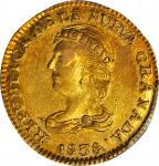 COLOMBIA. 1838-RU 2 Pesos. Popayán mint. Restrepo 202.1. AU-58 (PCGS).