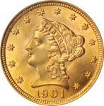 1901 Liberty Head Quarter Eagle. MS-63 (PCGS).