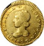 COLOMBIA. Escudo, 1823-BOGOTA JF. Bogota Mint. NGC AU Details--Obverse Scratched.