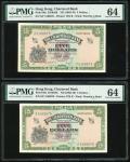 1962-70年渣打银行5元连号2枚,无日期,编号S/F 5168675-676,均PMG 64