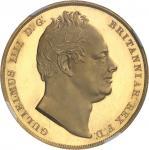 GRANDE-BRETAGNE Guillaume IV (1830-1837). Crown (couronne), frappe en or, Flan bruni (PROOF) 1831, L