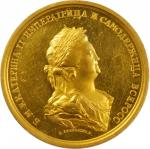 RUSSIA. Peace with Turkey Medal Struck in Gold by C. Leberecht/F.W. Gass, 1791. Catherine II ( The G