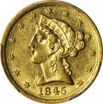 1845-D Liberty Head Half Eagle. AU-58 (PCGS).