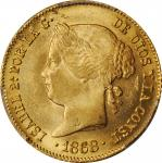 PHILIPPINES. 4 Pesos, 1868/58. Manila Mint. Isabel II. PCGS MS-63 Gold Shield.