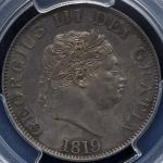 GREAT BRITAIN George III ジョージ3世(1760~1820) 1/2Crown 1819 PCGS-MS62 AU/UNC