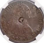 英国 (Great Britain) ジョージ3世 加刻緊急1ドル銀貨(4シリング9ペンス) 年号なし(1797~99年) KM626 / George III Emergency Issue 1 D