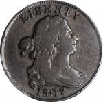 1802/0 Draped Bust Half Cent. C-2. Rarity-3. Second Reverse (a.k.a. Reverse of 1802). Fine-15 (PCGS)