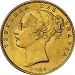 英国 (Great Britain) ヴィクトリア女王像 ヤングヘッド/楯図 1ソブリン金貨 1866年 KM736.2 / Victoria Young Head 1 Sovereign Gold