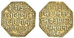 Assam, Śiva Simha (1714-44), octagonal gold Mohur, 11.32g, Sk. 1655, year 19, citing Queen Ambi
