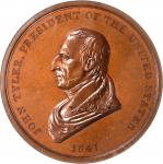 1841 John Tyler Indian Peace Medal. Large Size. Bronze. 76 mm. Julian IP-21. Second Reverse. AU-58 B