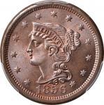 1856 Braided Hair Cent. N-6. Rarity-1. Upright 5. MS-66 BN (PCGS). CAC.