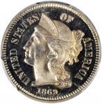 1869 Nickel Three-Cent Piece. Proof-65 Deep Cameo (PCGS). CAC.