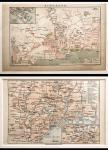 1930-1940年代新加坡及东京地图2枚一组,尺寸分别为14x23cm及16x25cm,装裱于硬卡纸里。