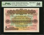 CEYLON. Government of Ceylon. 50 Rupees, 1929. P-26s. Specimen. PMG About Uncirculated 50.