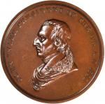 1841 John Tyler Indian Peace Medal. Second Size. Second Reverse. Bronzed Copper. 62.3 mm, rims 5.4 t