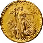 1907 Saint-Gaudens Double Eagle. Arabic Numerals. MS-65 (NGC).